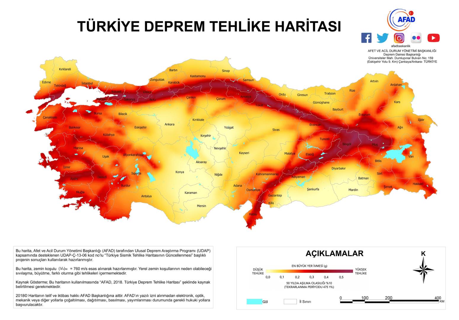 Türkiye Deprem Tehlike Haritası