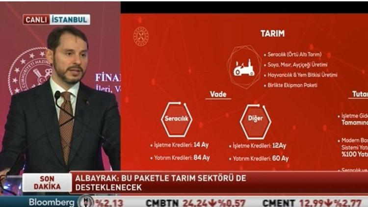 Bakan Albayrak, tarım sektörü için yeni kredi paketi açıkladı