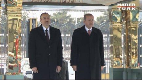 Aliyev, Cumhurbaşkanlığı Sarayı'nda resmi törenle karşılandı