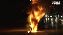 Maltepe'de seyir halindeki motosiklet alev topuna döndü