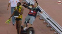 Kameraman Usain Bolt'u sakatlıyordu
