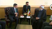 Davutoğlu, İran Cumhurbaşkanı Ruhani ile görüştü