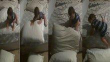 Yataktan böyle indi