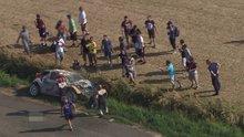 Ralli kazası helikopter kamerasında