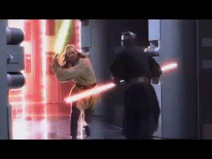 Qui-Gon ve Obi-Wan Kenobi ile Darth Maul düellosu