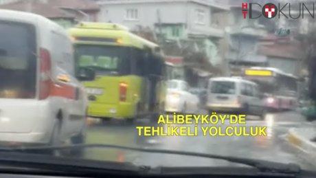 Alibeyköy'de tehlikeli minibüs yolculuğu