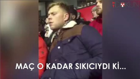 United taraftarı maçta sıkıntıdan uyudu