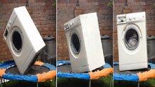 Çamaşır makinesinin trambolin keyfi