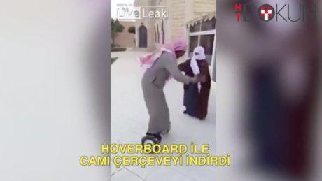 Hoverboard'la camı çerçeveyi indirdi