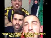 Fenerbahçeli futbolcuların galibiyet sevinci