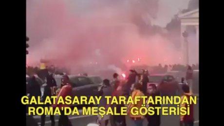 Galatasaray taraftarı Roma'yı yaktı