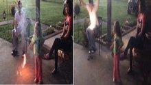 Babasının üzerinde kutlama yapan kız