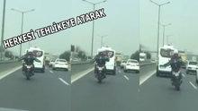 İstanbul trafiğinde çılgınca eğlenen motorcu
