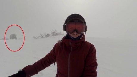 Müzik dinleyerek kayak yapan kızı ayı kovaladı!