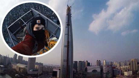 Güney Kore'nin en yüksek binasına gizlice tırmandılar