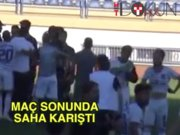 Karabük'te amatör maçta saha karıştı