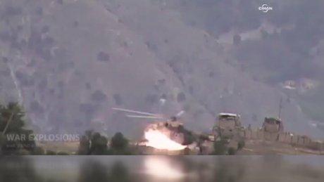Afgan ordusunun helikopteri böyle patlatıldı