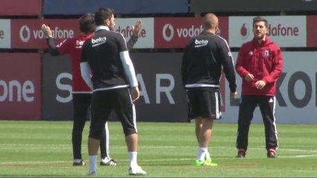 Beşiktaş, idmanda hem gergin hem neşeli anlar