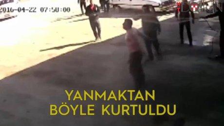 Yanan işçiyi komşu eesnaf kurtardı