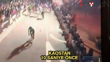 Bisiklette inanılmaz zincirleme kaza