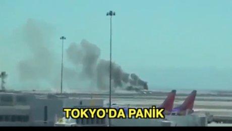 Tokyo havalimanında uçak yandı