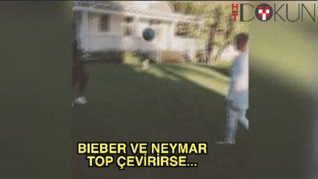 Neymar ve Bieber'dan futbol resitali