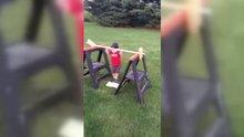 Oğluna parkur hazırlayan süper baba