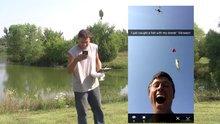 Drone ile balık yakaladı