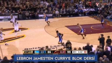 Lebron 'dan Curry'e blok