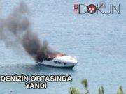 Bodrum'da yat deniz ortasında yandı