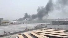 Dubai Havalimanı'na acil iniş yapan uçak alev aldı