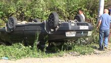 Virajı alamayan otomobil takla attı: 6 yaralı