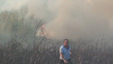 Fethiye'de sazlık yangını korkuttu