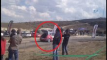 Ralli'deki kaza anı kamerada