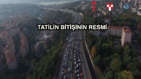 İlk gün trafiği 'havadan' görüntülendi