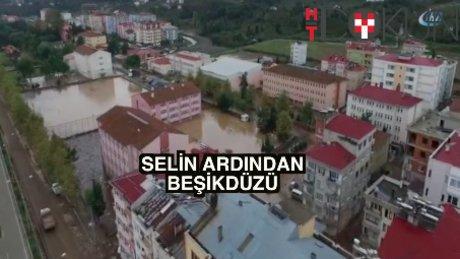 Trabzon'da sel havadan görüntülendi