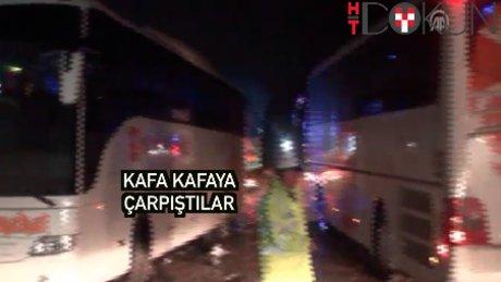 İki otobüs kafa kafaya çarpıştı: 68 yaralı