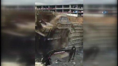 Başakşehir'de dev istinat duvarı böyle çöktü