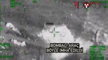 Beytüşşebap'ta bomba yüklü araç böyle vuruldu