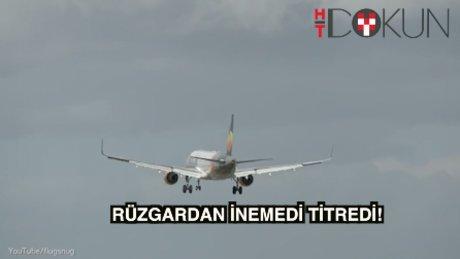 Uçak rüzgardan inemedi