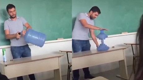 Çılgın öğretmenden damacana deneyi