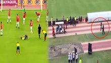 Futbolcu saha içinde polisten kaçtı