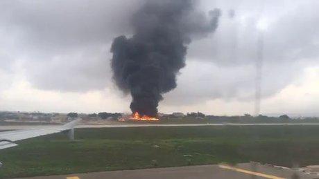 Malta'dan kalkan uçak düştü