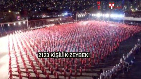 İzmir'de 2123 kişilik zeybek ve Türkiye haritası