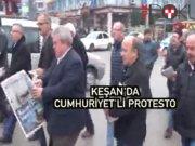 Keşan'da Cumhuriyet'li protesto