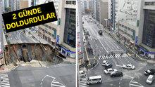 Japonlar çöken yolu böyle yeniledi