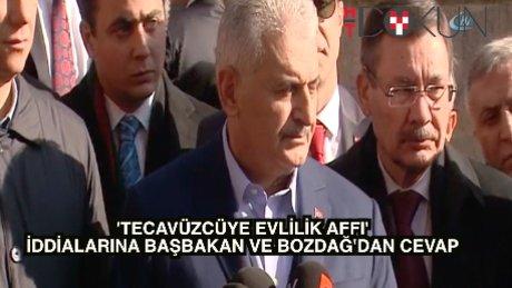 """Bozdağ ve Başbakan Yıldırım'dan ortak yorum: """"Tecavüzcüye af değil"""""""