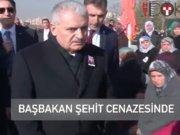 Başbakan şehit Üsteğmenin cenaze töreninde