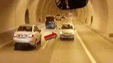 Trafik canavarı tünel boyu geri geri gitti