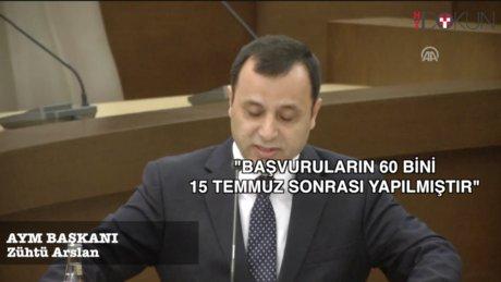 AYM Başkanı Arslan: ''Başvuruların 60 bini, 15 Temmuz sonrası yapılmıştır''